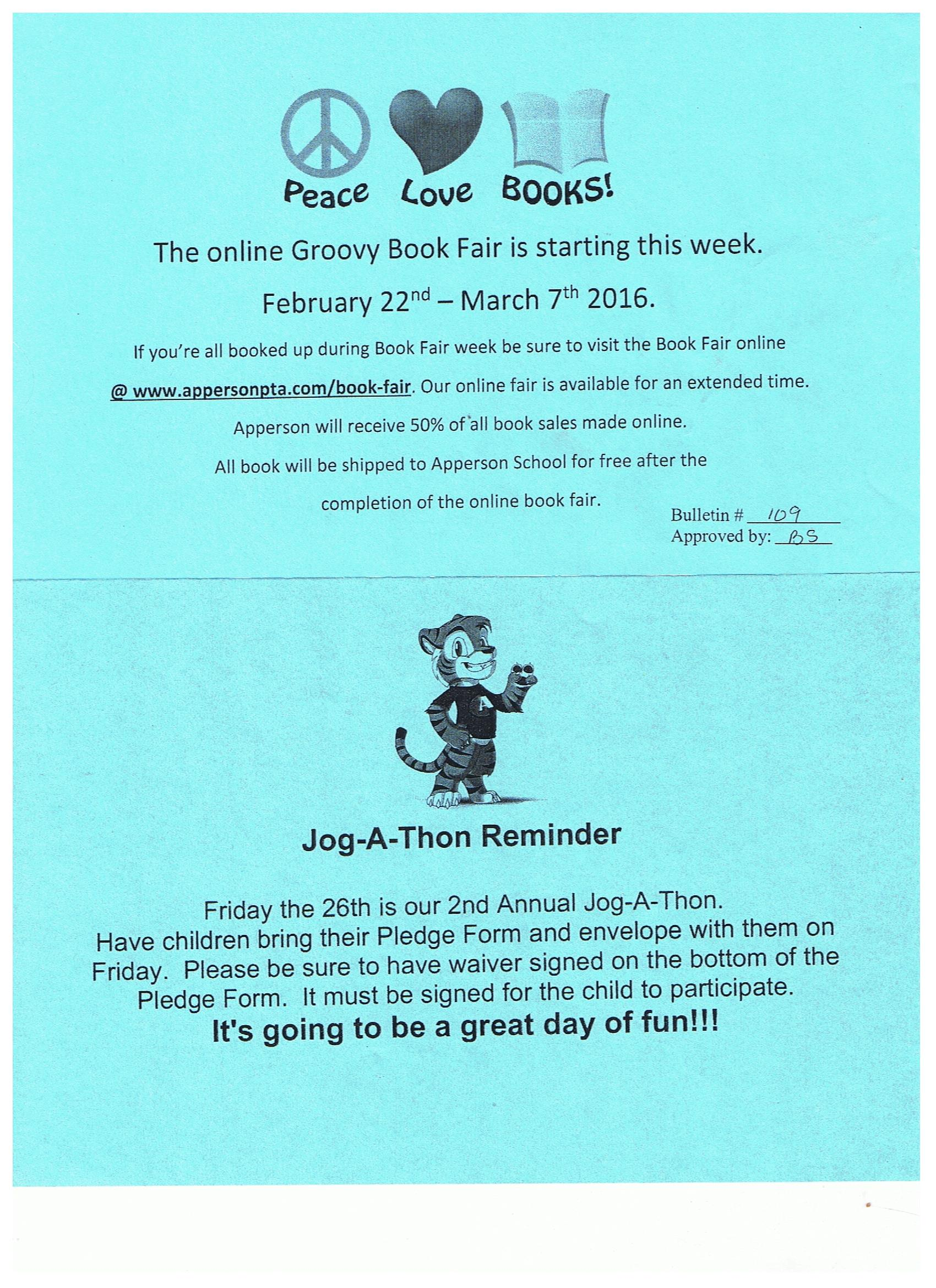 book fair and jogathon reminders