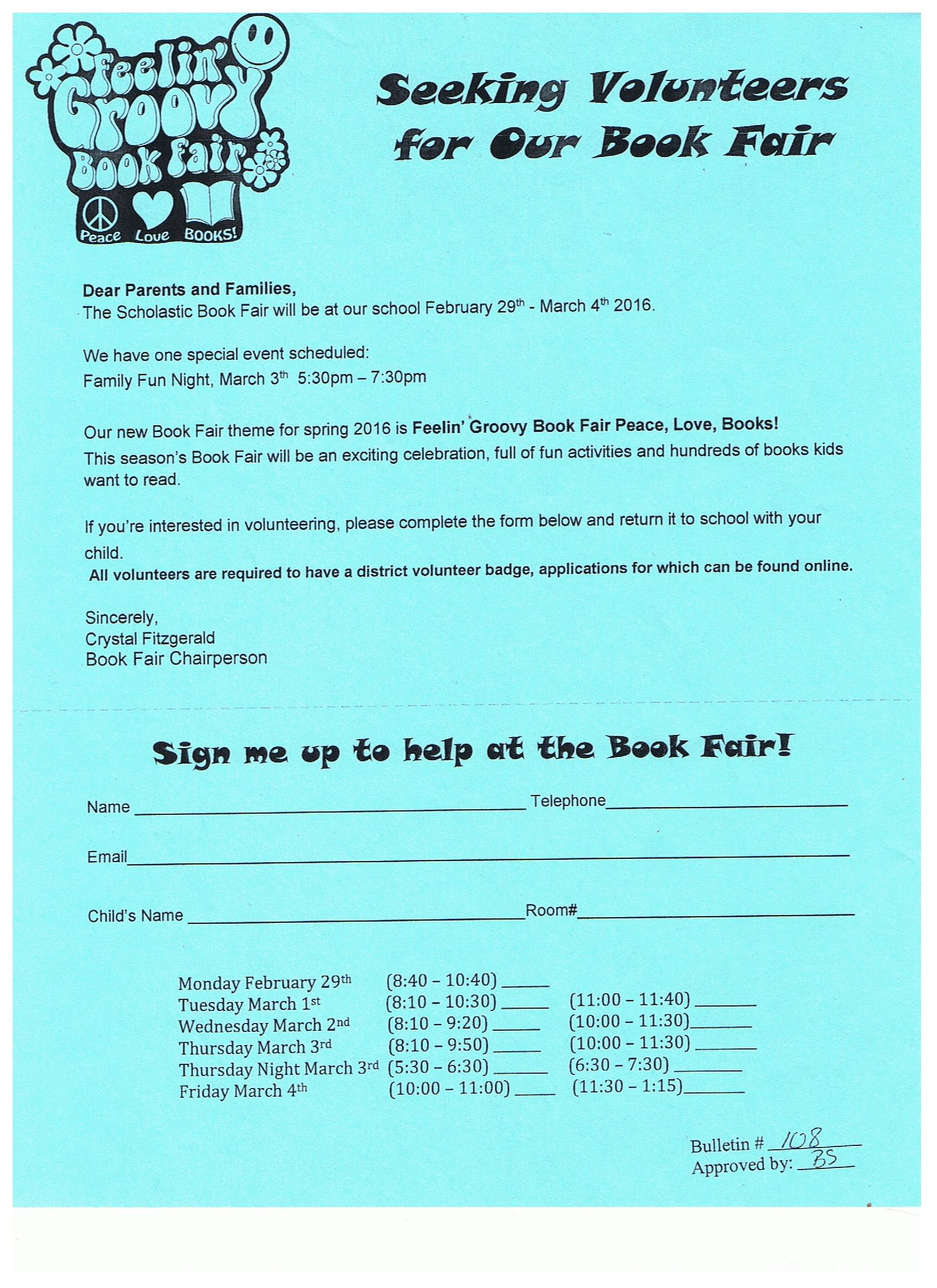 spring book fair volunteer flyer 2016