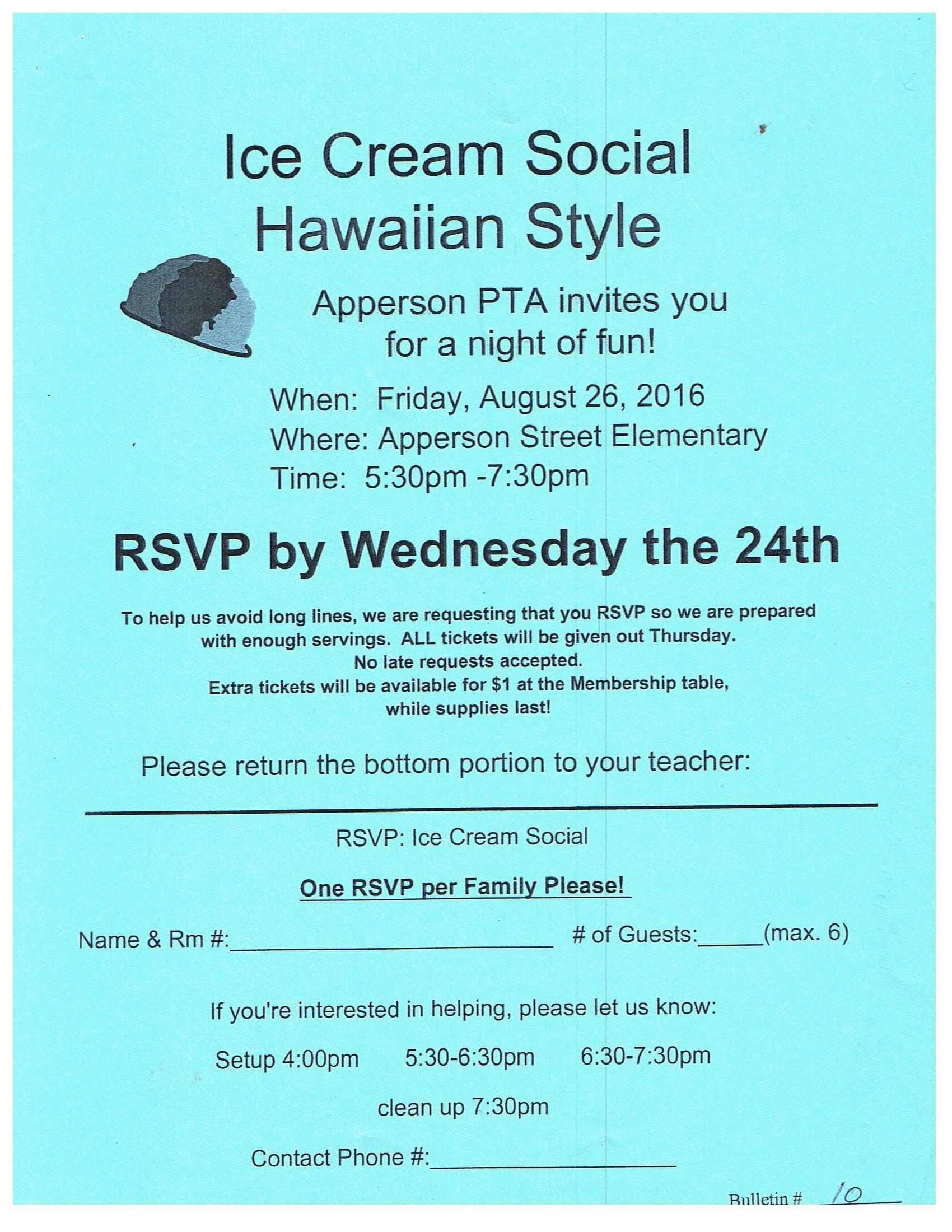 home apperson pta page  ice cream social pta waiver marquee fundraising flyers