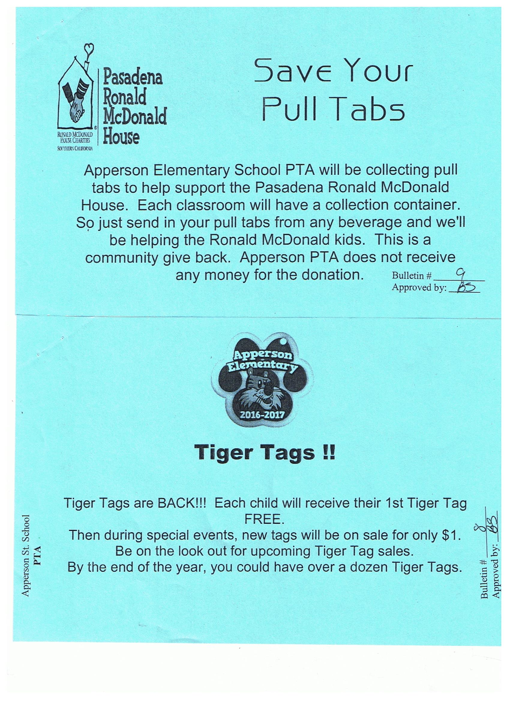pull tabs and tiger tags 8-19-16